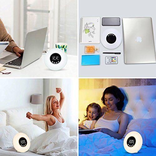 photo Wallpaper of Fitfirst-Fitfirst Reloj Despertador Luz LED Con Control Remoto 9 Colores Ajustables Simula El Amanecer-