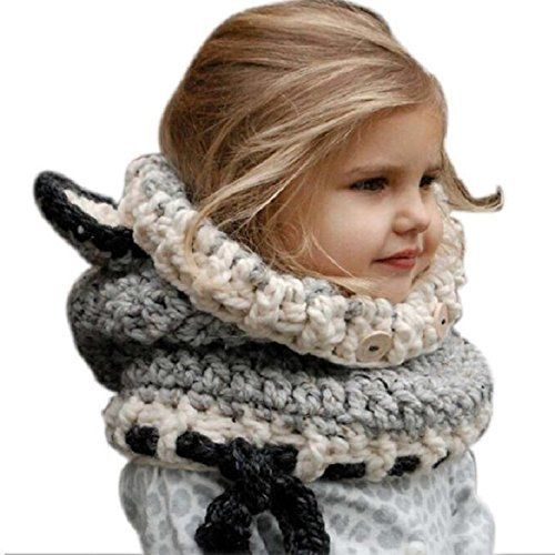 photo Wallpaper of Vinawo-Vinawo Baby Mädchen Gestrickte Hüte Kinder Strickmütze Schlupfmütze Winter Wolle-Grau