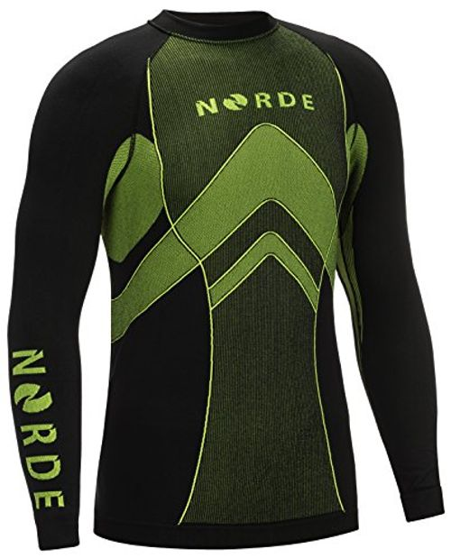 photo Wallpaper of Norde-THERMOTECH NORDE Herren Funktionswäsche Thermoaktiv Atmungsaktiv Base Layer SET Outdoor Radsport-Schwarz/Blau