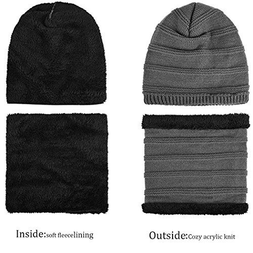 photo Wallpaper of GOODBUY-Goodbuy Winter Mütze Herren, Strickmütze Beanie Damen Und Schal Mit Fleecefutter (Grau)-Grau