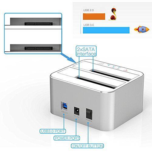 photo Wallpaper of FIDECO-USB 3.0 Externe Festplatten Dockingstation Mit 3 Port, FIDECO Aluminium Dual Bay HDD-Silber
