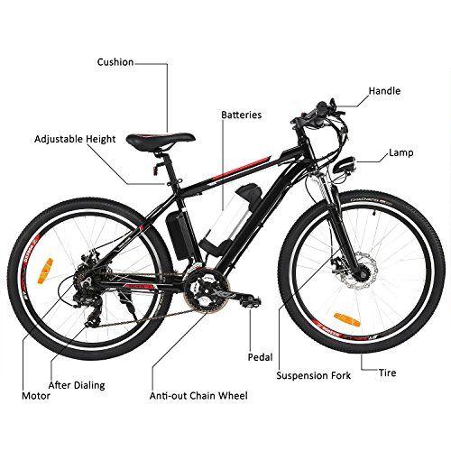 photo Wallpaper of Ultrey-ULTREY E Bike 26 Zoll Elektrofahrrad Mountainbike Abnehmbarer Rahmen Akku Hinterradbremse Spannung: 36V/250W-Schwarz