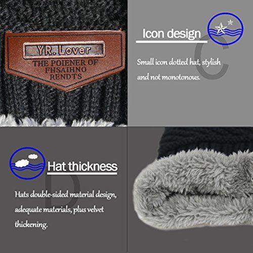 photo Wallpaper of YR.Lover.hats-Wintermütze Erwachsene Fleece Slouchy Warme Strickmütze Und Schal Soft Lined.YR.Lover-Schwarz