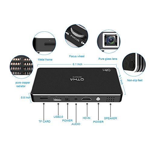photos of OTHA Mini Beamer 1080P Led Full HD Android Mini Projektor Eingebaut In 32GB Speicher, DLP Pico Video Projektor 100 ANSI Lumen, Unterstützung Für HDMI Eingang / WiFi / USB / Kaufen   model CE