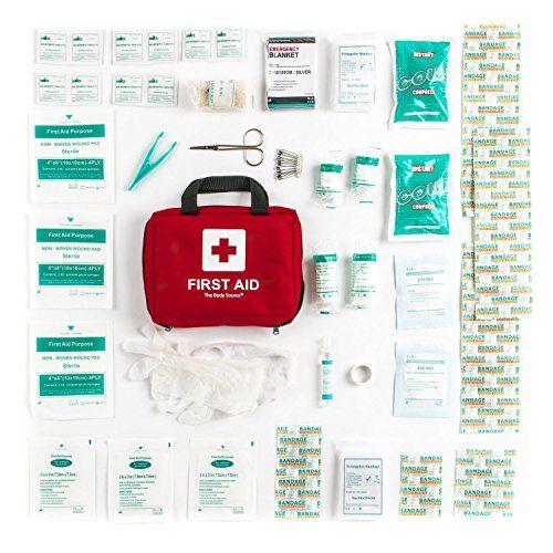 photo Wallpaper of The Body Source-Botiquín De Primeros Auxilios De 90 Artículos Con Bolsas De Hielo, Solución Para-Rojo