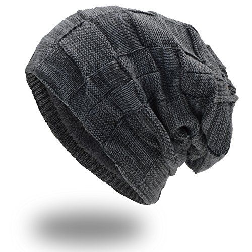 photo Wallpaper of UPhitnis-UPhitnis Warme Wintermütze   Long Slouch Beanie Mütze   Strickmütze Mit Flecht-Hellgrau