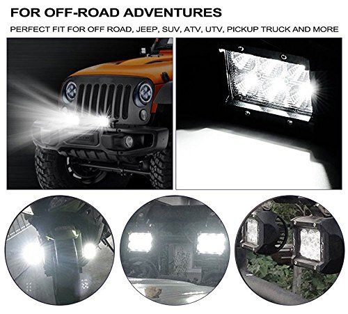 photo Wallpaper of Eyourlife-Eyourlife LED Auto Scheinwerfer Offroad Arbeitsscheinwerfer 18W 1800Lumen Flood 2 Stück-FLOOD