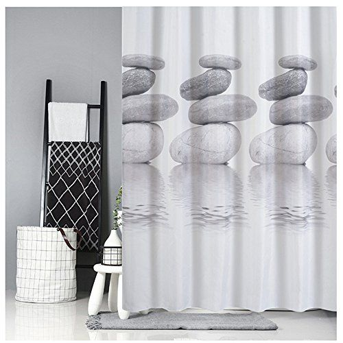 photo Wallpaper of Goldbeing-Goldbeing Duschvorhang 120x180 Textil Grau Pebble Schimmelresistenter Und Wasserabweisend Shower Curtain Mit 12-