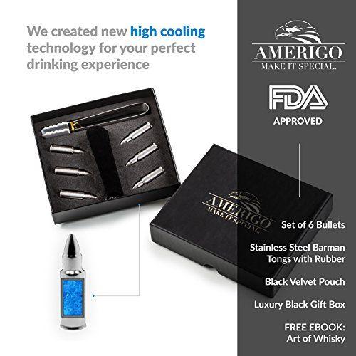 photo Wallpaper of Amerigo-Amerigo Premium Edelstahl Whisky Steine Geschenkset – Hohe Kühltechnologie   Wiederverwendbare-