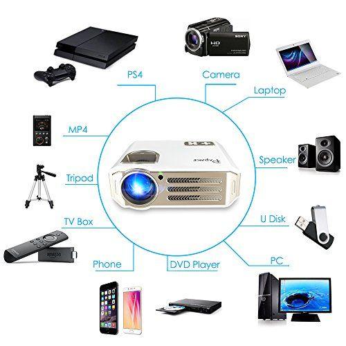 photo Wallpaper of Papake-Beamer,Papake 1080P HD Heimkino Projektor,3100 Lumen Multimedia LED Büro Projektor LCD Panel HDMI/VGA/AV/USB-Weiß