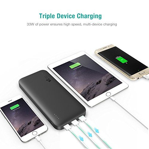 photo Wallpaper of EC Technology-[Quick Charge 3.0] EC Technology 21000mAh Power Bank Dual Eingang Port (4A) Portabler-Schwarz/Blau