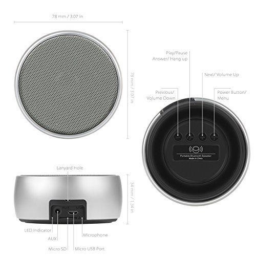 photo Wallpaper of Inateck-Inateck Mobiler Lautsprecher, Tragbarer Drahtloser Lautsprecher, Bluetooth Lautsprecher Mit Aluminiumgehäuse, Verstärkter Bass Und-Silber