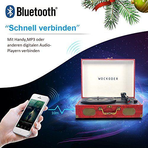 photo Wallpaper of WOWOTO-Wockoder Turntable Vinyl Plattenspieler Koffer Vintage Retro Bluetooth USB Nostalgie Schallplattenspieler Mit Lautsprecher-Dunkel Rot