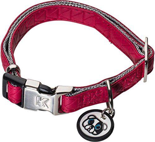 photo Wallpaper of Karl Lagerfeld-Karl Lagerfeld Haustiere Hunde Halsband Aus Weichem Leder, Verstellbar, Farbe: Rot, Größe: 10-Rot