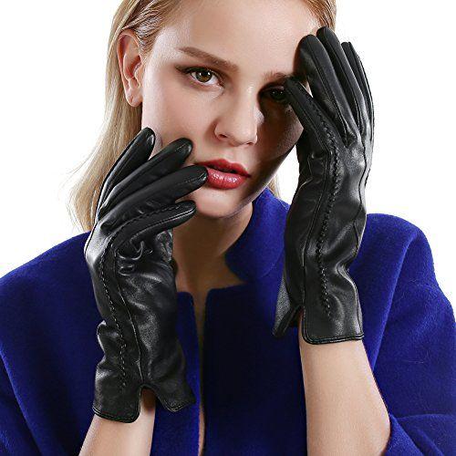 photo Wallpaper of VEMOLLA-VEMOLLA Damen Winter Handschuhe Echt Leder Gefüttert Lederhandschuhe Schwarz Size 7-Schwarz(stil 1)