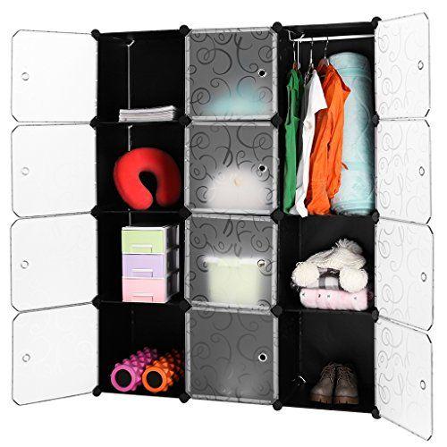 photo Wallpaper of LANGRIA-LANGRIA Stufenregal 12 Kubus Regalsystem Kleiderschrank Garderobenschrank Für Kleidung, Schuhe, Spielzeug-Schwarz+transluzent