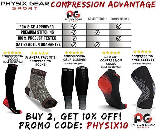 photo Wallpaper of Physix Gear Sport-Calcetines De Compresión Para Fasciitis Plantar Con Arcos, Mejor Cuidado 24/7 Para El-(1 PAIR) Black