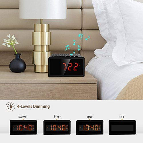 photo Wallpaper of Dprofy-Radiowecker Bluetooth Lautsprecher Kabellose Digital   Dimmbare LED Uhr Mit 4-black