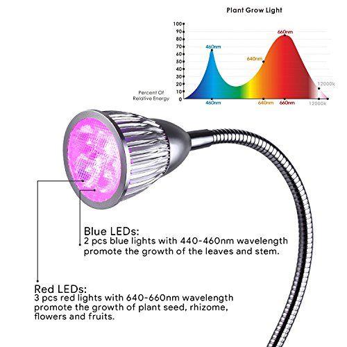 photo Wallpaper of Amzdeal-Amzdeal Pflanzenlampe Wachstumslampe Blumenlampe, Pflanzenbeleuchtung Mit 360 Grad Drehung (10W Doppelter-