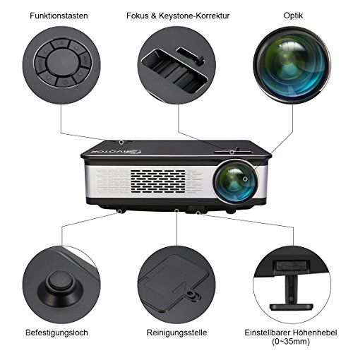 photo Wallpaper of EIVOTOR-Full HD Beamer, EIVOTOR LED 720P Video Beamer Mit 3300 Lumens Auflösung-Schwarz 5.8''