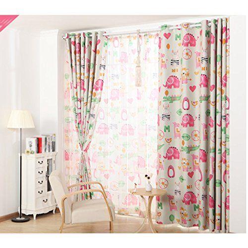 photo Wallpaper of Vorhänge-Vorhänge LINGZHIGAN Beidseitiger Druck Volle Schatten Boden Schlafzimmer Verdunkelungs Vorgerückte Öse-durchsichtig