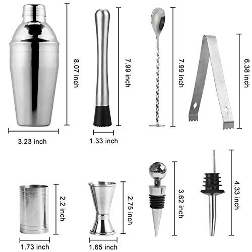 photo Wallpaper of MBLAI-MBLAI Cocktailshaker Set Edelstahl, 10PCS Cocktailmixer Set Bar Zubehör Cocktail Shaker Mit Sieb-