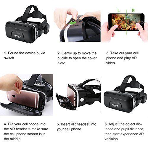 photos of HAMSWAN G04EA 3D VR Briller Virtual Reality Gläser Mit Eingebautem Headset 120 Grad FOV Und Multifunktionsknopf Kompatibel Mit IPhone, Samsung Und Anderen 4.0