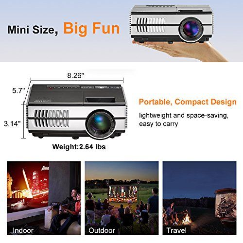 photo Wallpaper of EUG-Mini LED Beamer Tragbar LCD Videoprojektor Heimkino 1500 Lumen HDMI VGA USB TV Spiele-1500 lumens Mini Movie Gaming Projector