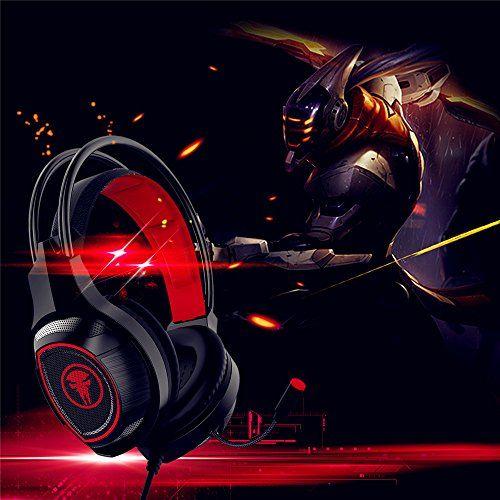 photo Wallpaper of JIEJIEWYD-Gaming Headset, JIEJIEWYD Gaming Kopfhörer Mit Mikrofon Für Gaming Musik Chat PS4 PC Laptop-rot/Schwarz