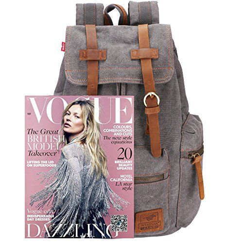 photo Wallpaper of BESTOPE-Canvas Vintage Rucksäcke BESTOPE Damen Herren Schulrucksack Retro Backpack Für Campus-Grey