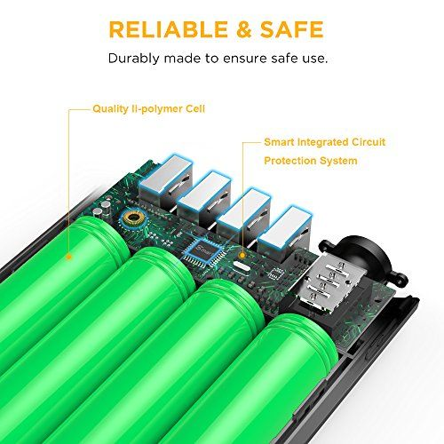 photos of EasyAcc Externer Akku 26000mAh Power Bank 4A Eingang 4.8A Smart Ausgang Externe Batterie Tragbares Ladegerät Für Samsung Iphone HTC Tablets   Schwarz&Grau Mit Rabatt Kaufen   model CE