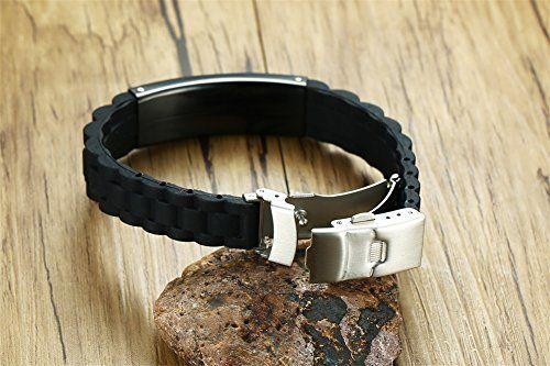 photo Wallpaper of Vnox-Vnox Personalisierte Benutzerdefinierte Medical Alert Edelstahl ID Tag Schwarz Silikonkautschuk Einstellbar Armband Für-