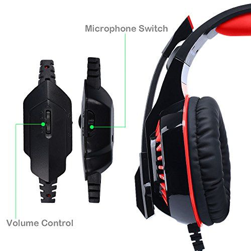 photo Wallpaper of Butfulake-AooLife Gaming Headset Für PS4, Xbox One, Für Computer, Laptop, Tablet, Smartphone, Stereo LED-GM-2-red