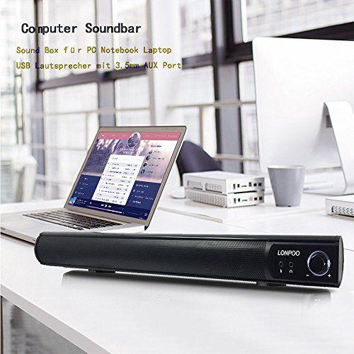 photo Wallpaper of LONPOO-LONPOO 10W USB Schlanke Soundbar Lautsprecher Mit Mikrofon Und Kopfhörer-schwarz