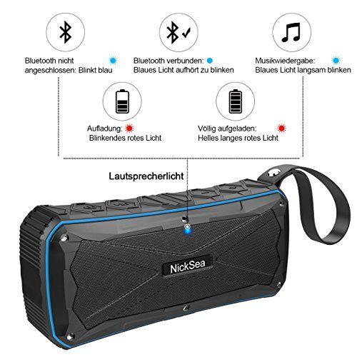 photo Wallpaper of Nicksea-Tragbarer Bluetooth Lautsprecher , Nicksea Portable Speaker Outdoor 16W IP6 Wasserdicht-blau