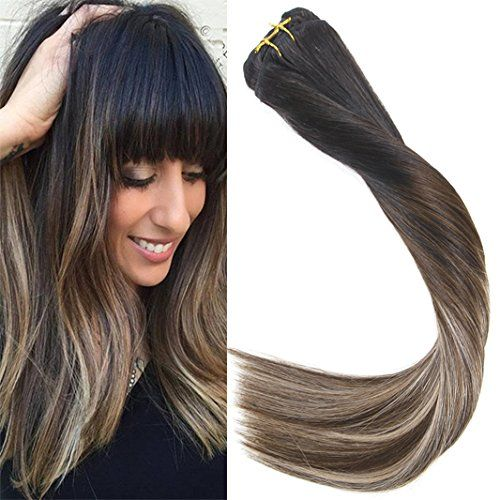 photo Wallpaper of Sunny Hair Beauty-Sunny Extensiones De Clip De Pelo Natural Cabello Humano Balayage #1b Negro Natural-#1b/4/18