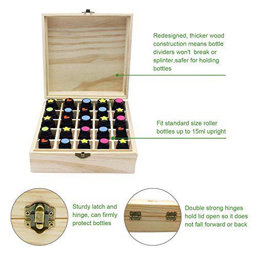 photo Wallpaper of PURENJOY-Aceite Esencial Caja De Almacenamiento De Madera 25 Compartimiento Para El Tamaño 5ml-