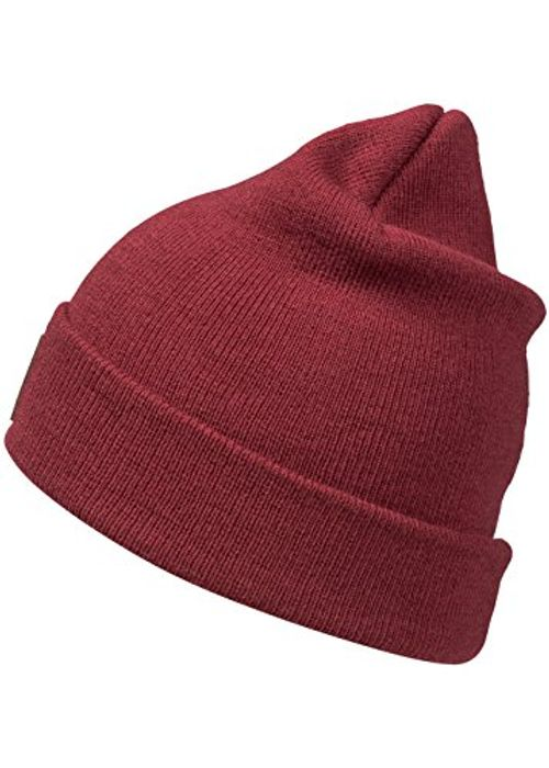 photo Wallpaper of Occulto-Occulto Leatherpatch Winter Mütze Beanie In Verschiedenen Farben (Bordeaux Rot)-Bordeaux Rot