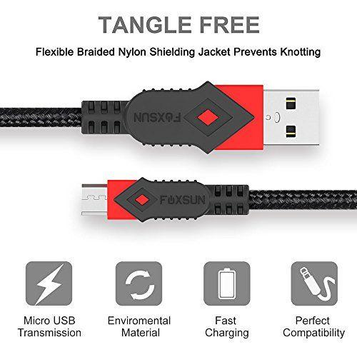 photo Wallpaper of FOXSUN-Micro USB Kabel [4 Stück, 1m] Foxsun 2,4A USB Ladekabel Geflochtenes Samsung Ladekabel -1M-Rot, Orange, Grün, Blau