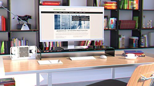photo Wallpaper of DURATABLE-DURATABLE® TV Glasaufsatz Glastisch LCD Tisch Aufsatz Monitorerhöhung Fernsehtisch Glas Schrankaufsatz Aufsatz Fernseher-Schwarz