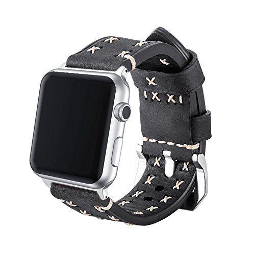 photo Wallpaper of MroTech-Armband Für Apple Watch, MroTech Leder Armband Vintage Uhrenarmband Für Apple Watch Sport/Edition Series-weiches Leder-Schwarz