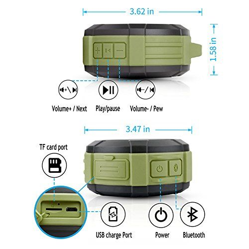 photo Wallpaper of Hcman-Bluetooth Lautsprecher Tragbar Dusche Lautsprecher,Hcman Wasserdicht Outdoor Speaker Mit Eingebautem-Green
