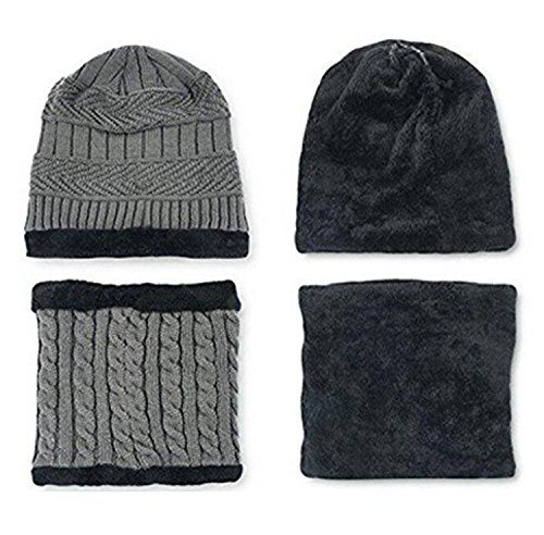 photo Wallpaper of ZZLAY-ZZLAY Kinder Winter Dicke Beanie Hut Schal Set Slouchy Warmen Schnee Knit Skull Cap-Grau