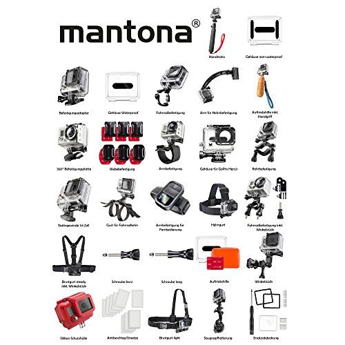 photo Wallpaper of Mantona-Mantona GoPro Set Luft Für GoPro Hero (Actionpro X7 Mit Befestigungsadaptern,-Schwarz