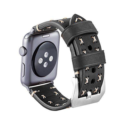 photo Wallpaper of MroTech-Armband Für Apple Watch, MroTech Leder Armband Vintage Uhrenarmband Für Apple Watch Sport/Edition-weiches Leder-Schwarz