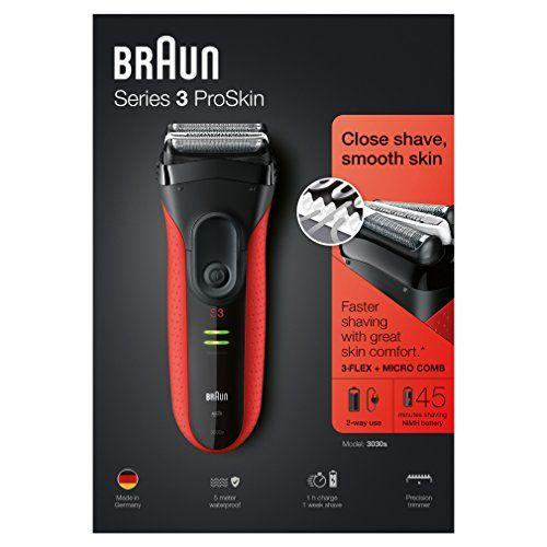 photo Wallpaper of Braun-Braun Series 3 ProSkin 3030S   Afeitadora Eléctrica Recargable, Color Rojo-Negro Y Rojo
