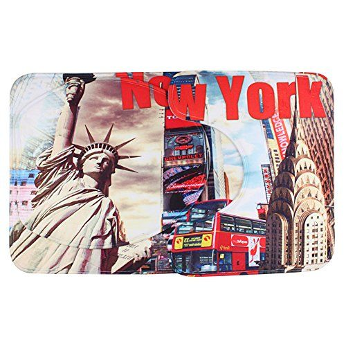 photo Wallpaper of Richoose-Richoose 3 Stück Toiletten Abdeckung Set Bad WC Set Sitzbezug (Bad Teppich +-NEW YORK
