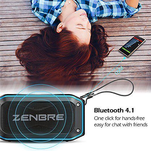 photo Wallpaper of ZENBRE-Bluetooth Lautsprecher, ZENBRE D5 Bluetooth 4.1 IPX7 Lautsprecher, 40 Stunden Spielzeit Mit 6-Blau