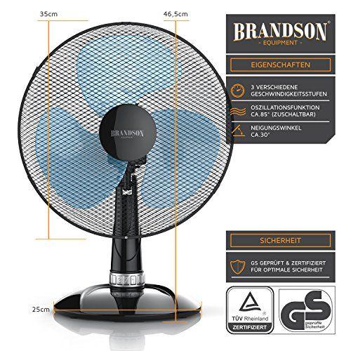 photo Wallpaper of BRANDSON-Brandson   Tischventilator 35cm | Tisch Ventilator Mit 3 Leistungsstufen |-Schwarz