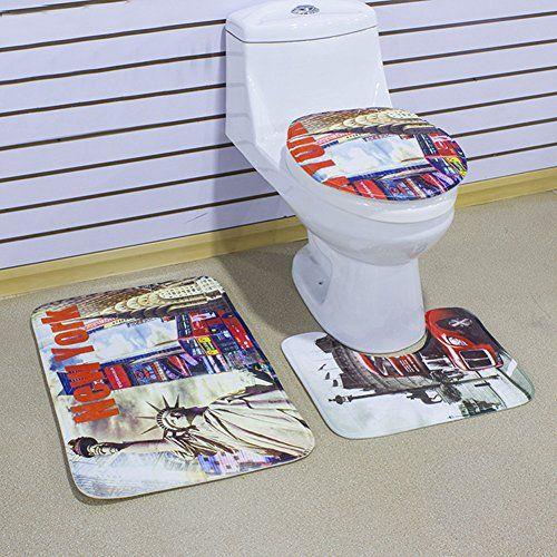 photo Wallpaper of Richoose-Richoose 3 Stück Toiletten Abdeckung Set Bad WC Set Sitzbezug (Bad Teppich-NEW YORK